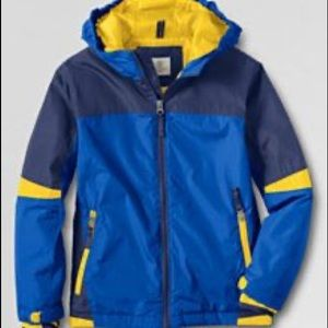 LANDS END blue yellow windbreaker rain coat 7 L
